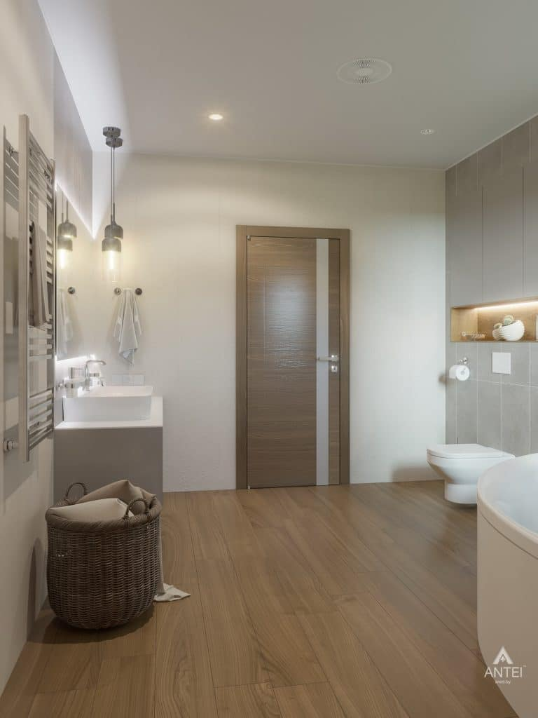 Дизайн интерьера одноэтажного загородного дома в д. Улуковье - ванная фото №6