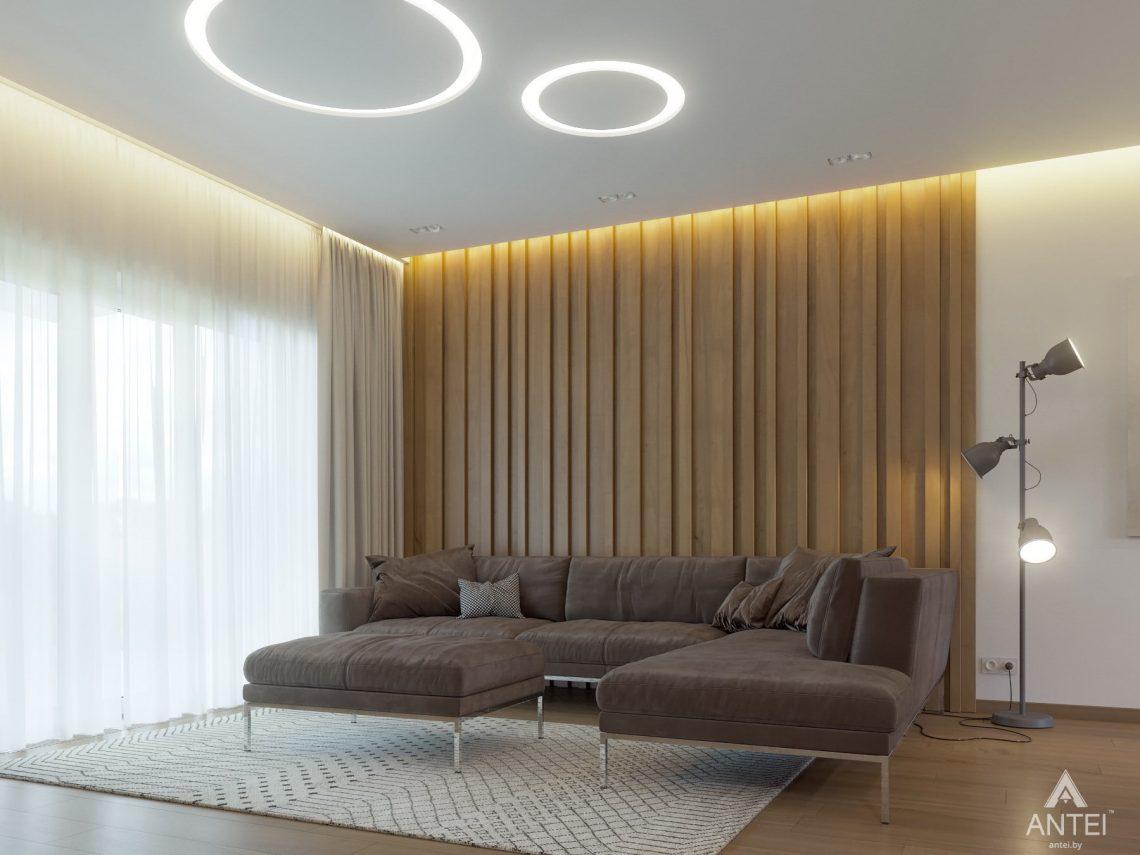 Дизайн интерьера одноэтажного загородного дома в д. Улуковье - гостиная фото №2