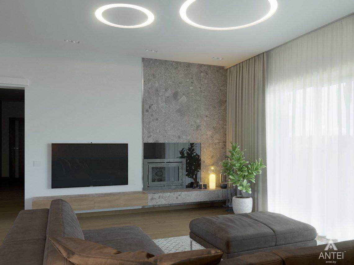 Дизайн интерьера одноэтажного загородного дома в д. Улуковье - гостиная фото №3