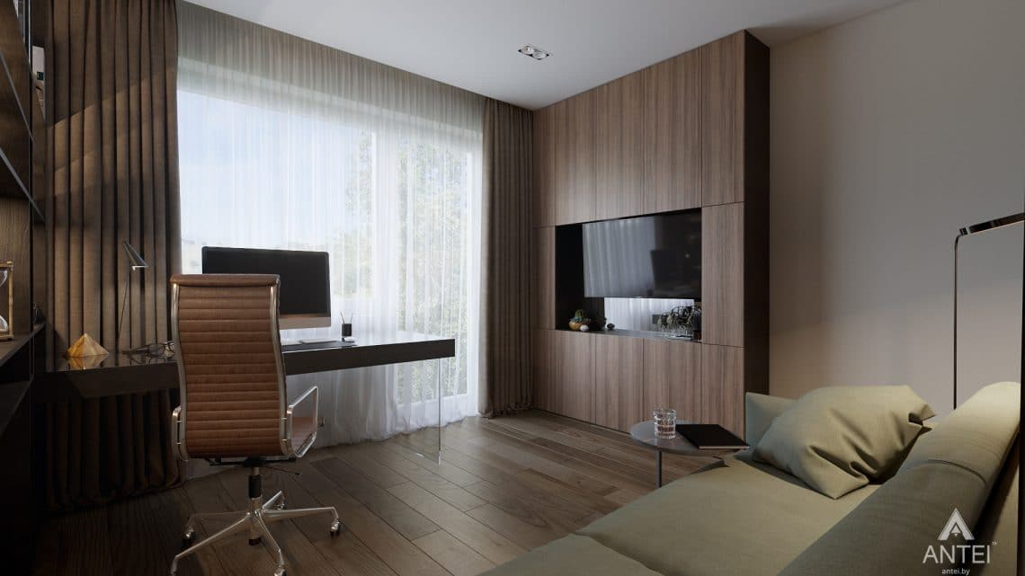Дизайн интерьера таунхауса в Варшаве - кабинет фото №3