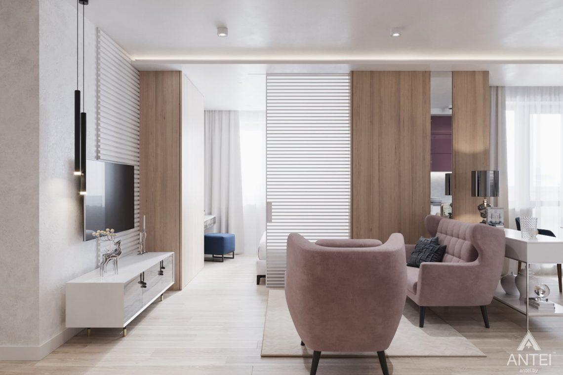 Дизайн интерьера трехкомнатная квартира в Минске, ул. Нововиленская - гостиная фото №5