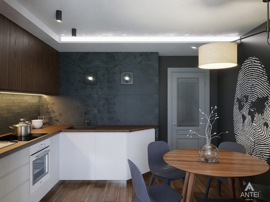 Дизайн интерьера двухкомнатной квартиры в Гомеле, ул. Советская - кухня фото №3