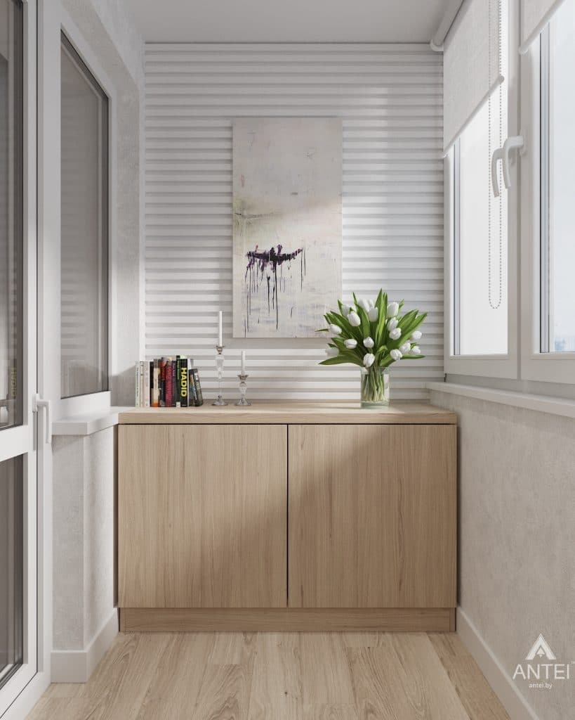 Дизайн интерьера трехкомнатная квартира в Минске, ул. Нововиленская - лоджия фото №2