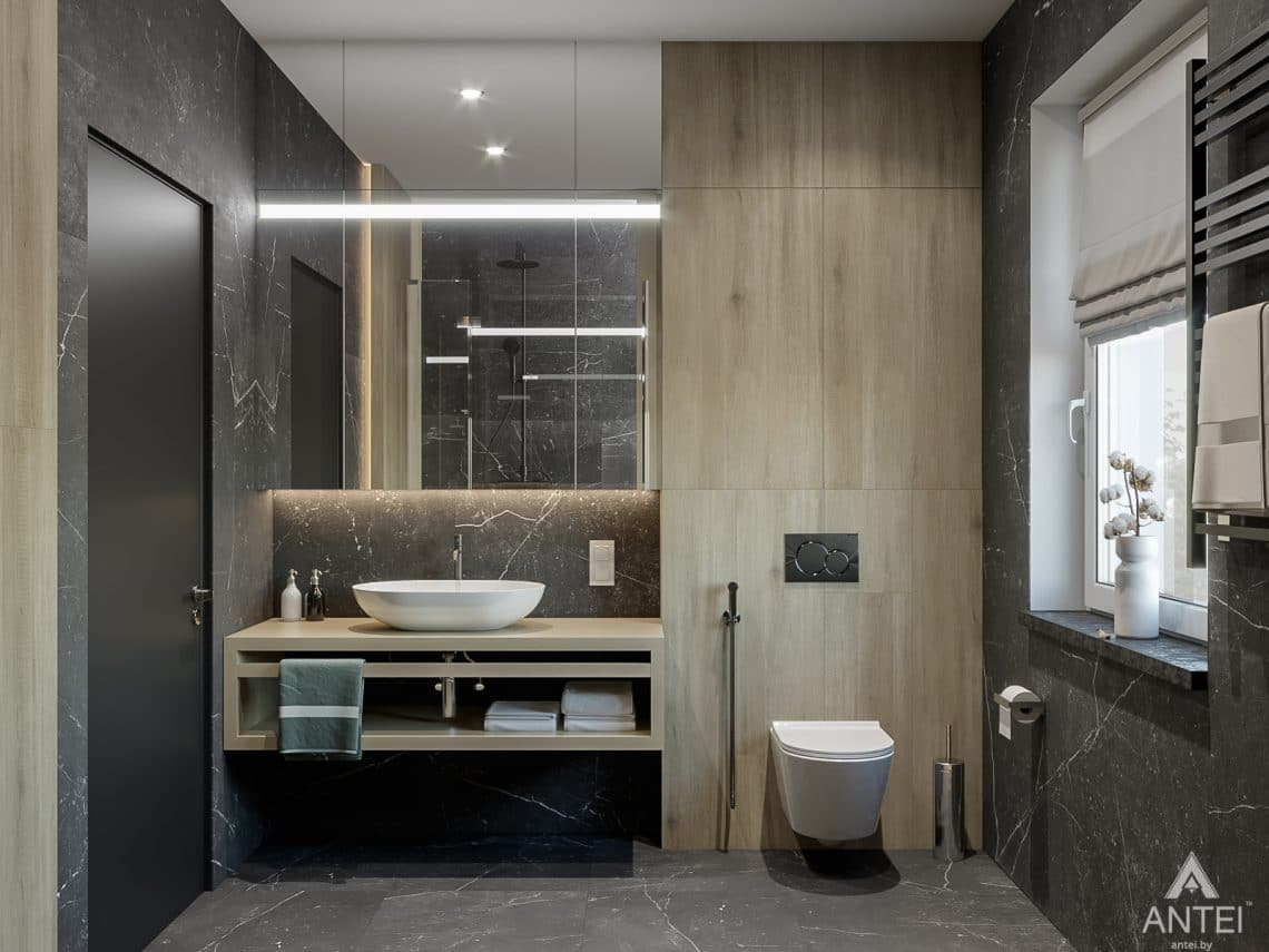 Дизайн интерьера таунхауса в Варшаве - санузел фото №6