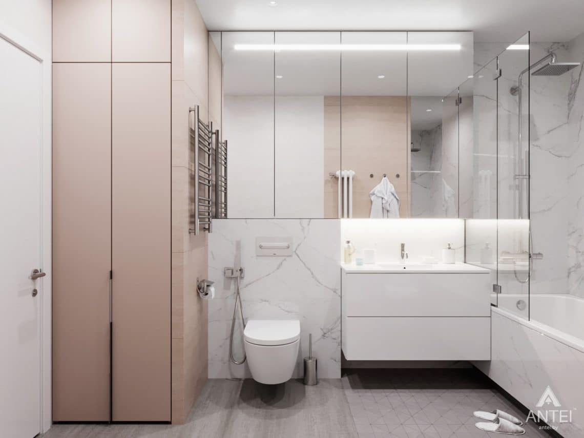 Дизайн интерьера трехкомнатная квартира в Минске, ул. Нововиленская - ванная фото №1