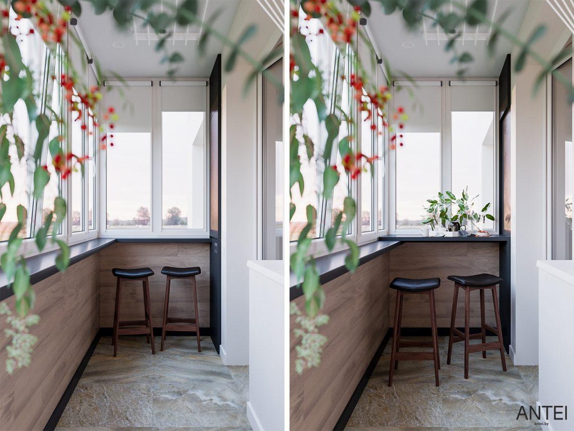 Дизайн интерьера трехкомнатная квартира в Гомеле, ул. Парижской Коммуны - балкон фото №1