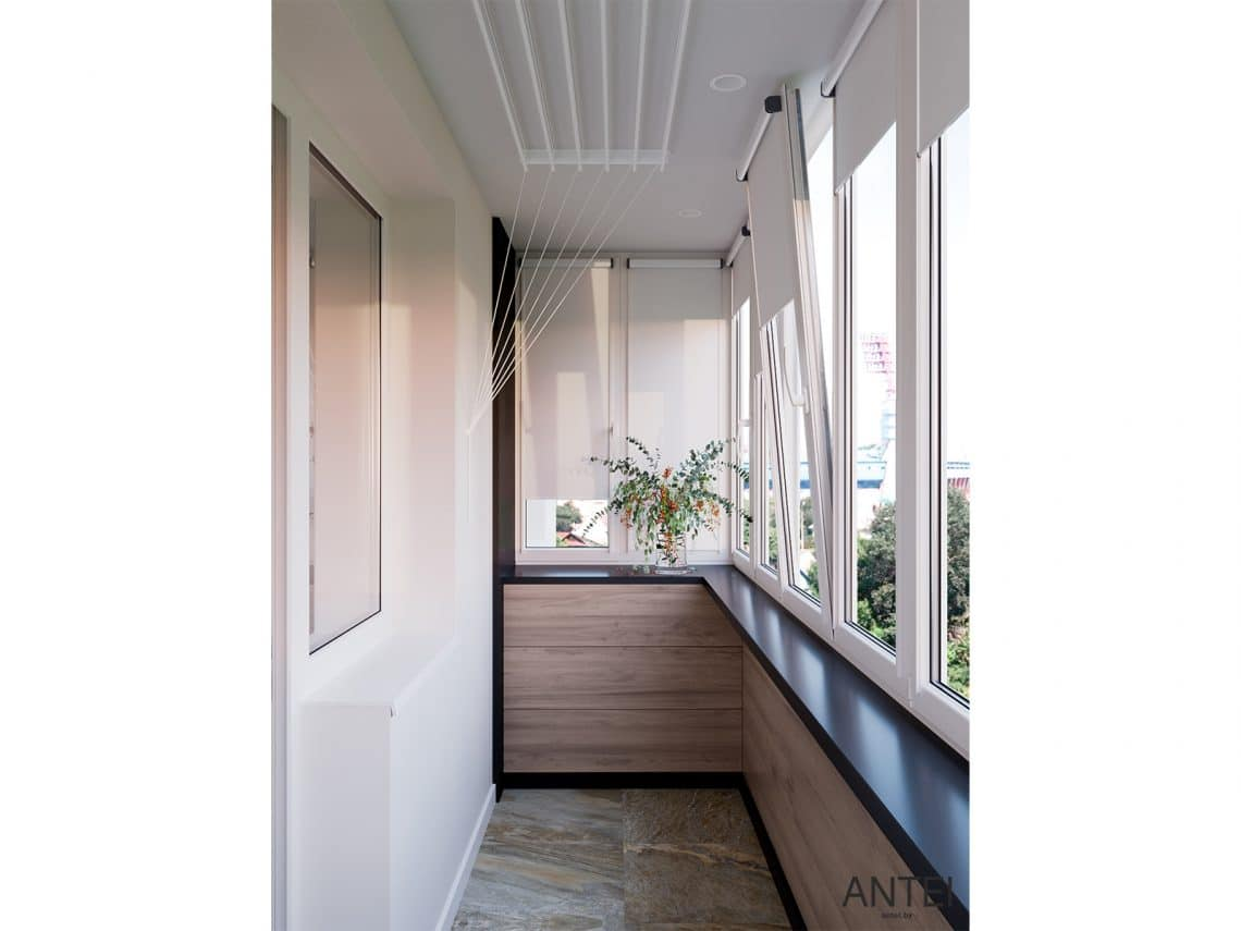 Дизайн интерьера трехкомнатная квартира в Гомеле, ул. Парижской Коммуны - балкон фото №2