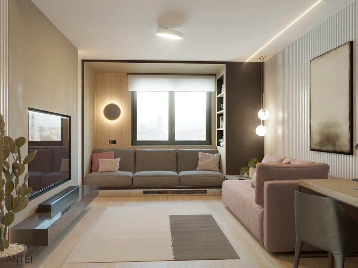 Дизайн интерьера трехкомнатная квартира в Минске, пр. Дзержинского - гостиная фото №2