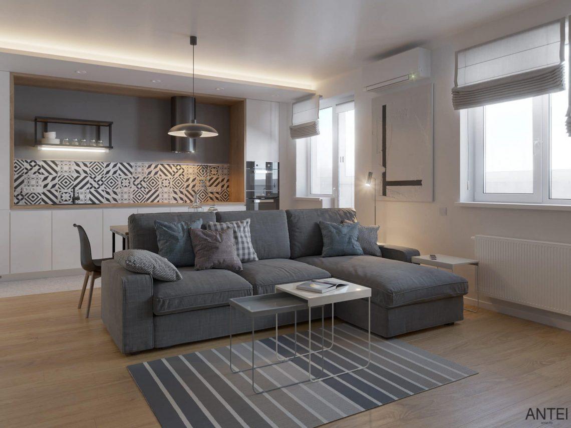 Дизайн интерьера однокомнатной квартиры студии в Минске - гостиная-кухня фото №1