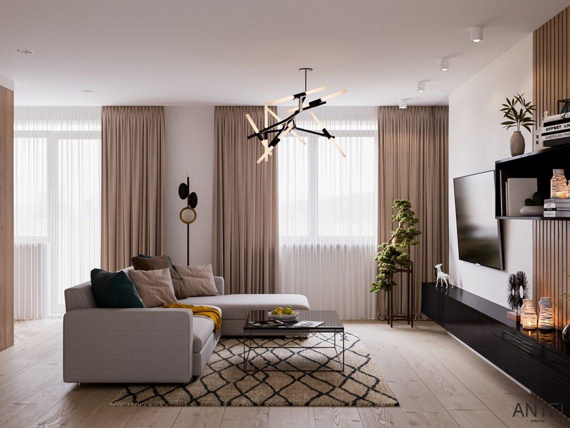 Дизайн интерьера трехкомнатная квартира в Гомеле, ул. Парижской Коммуны - гостиная фото №4
