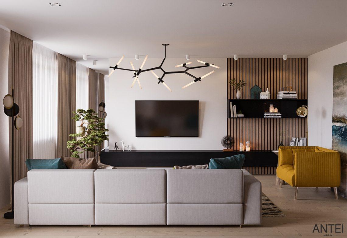 Дизайн интерьера трехкомнатная квартира в Гомеле, ул. Парижской Коммуны - гостиная фото №3