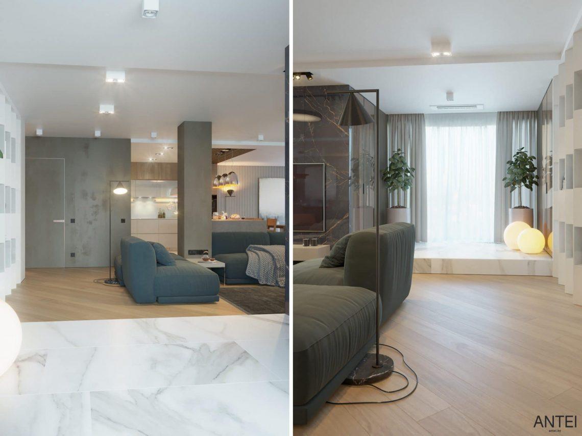 Дизайн интерьера трехкомнатной квартиры в Гомеле, ул. Советская - гостиная фото №5