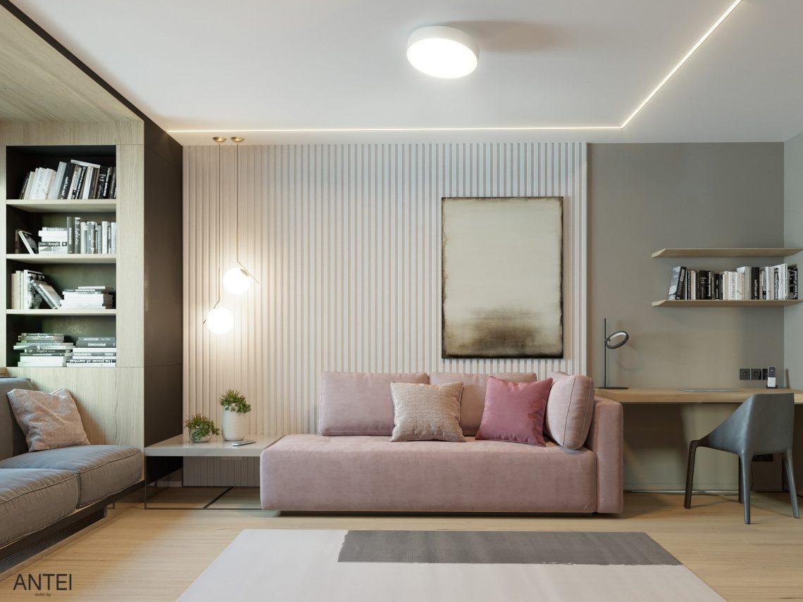 Дизайн интерьера трехкомнатная квартира в Минске, пр. Дзержинского - гостиная фото №1