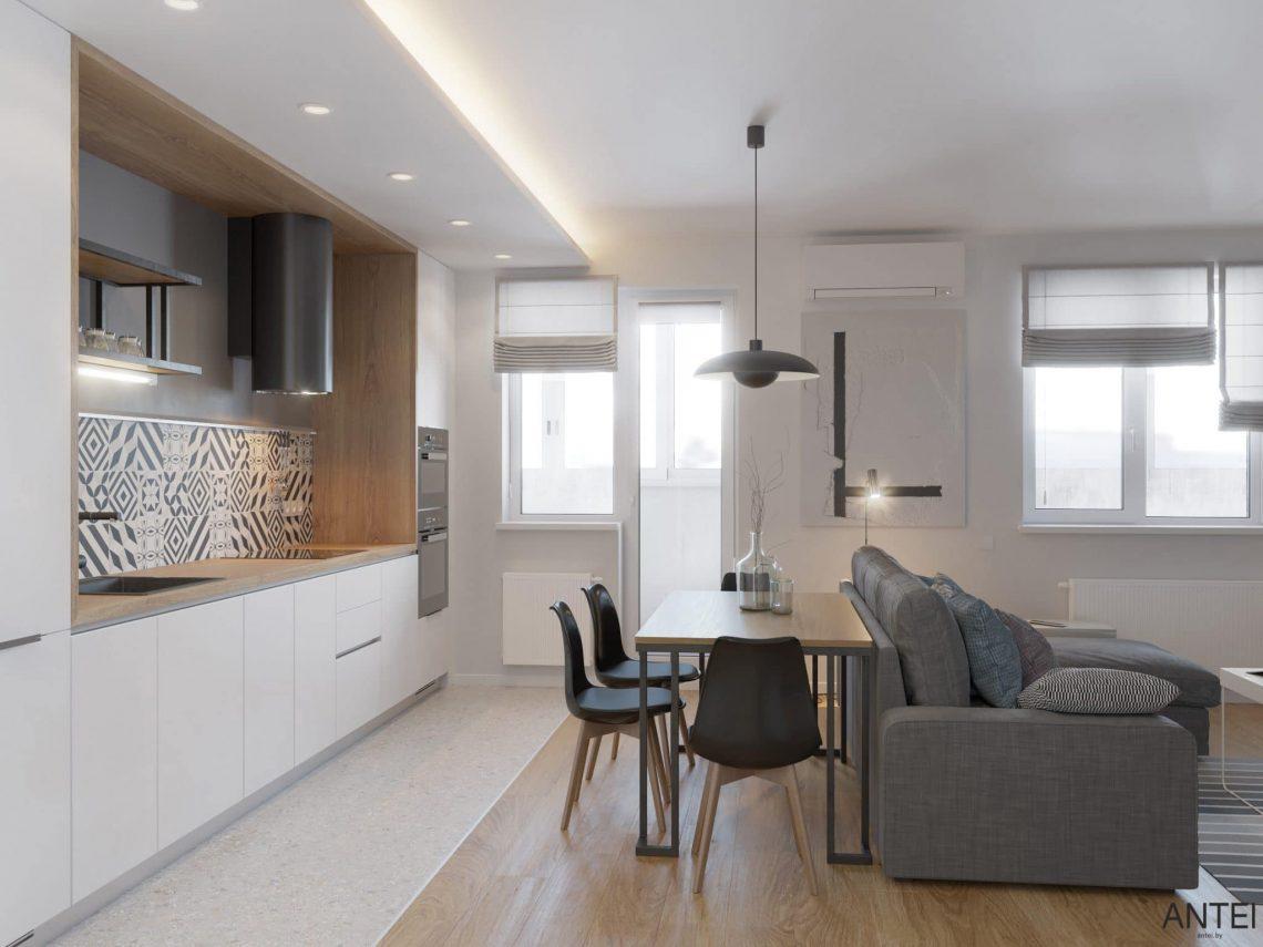 Дизайн интерьера однокомнатной квартиры студии в Минске - гостиная-кухня фото №2