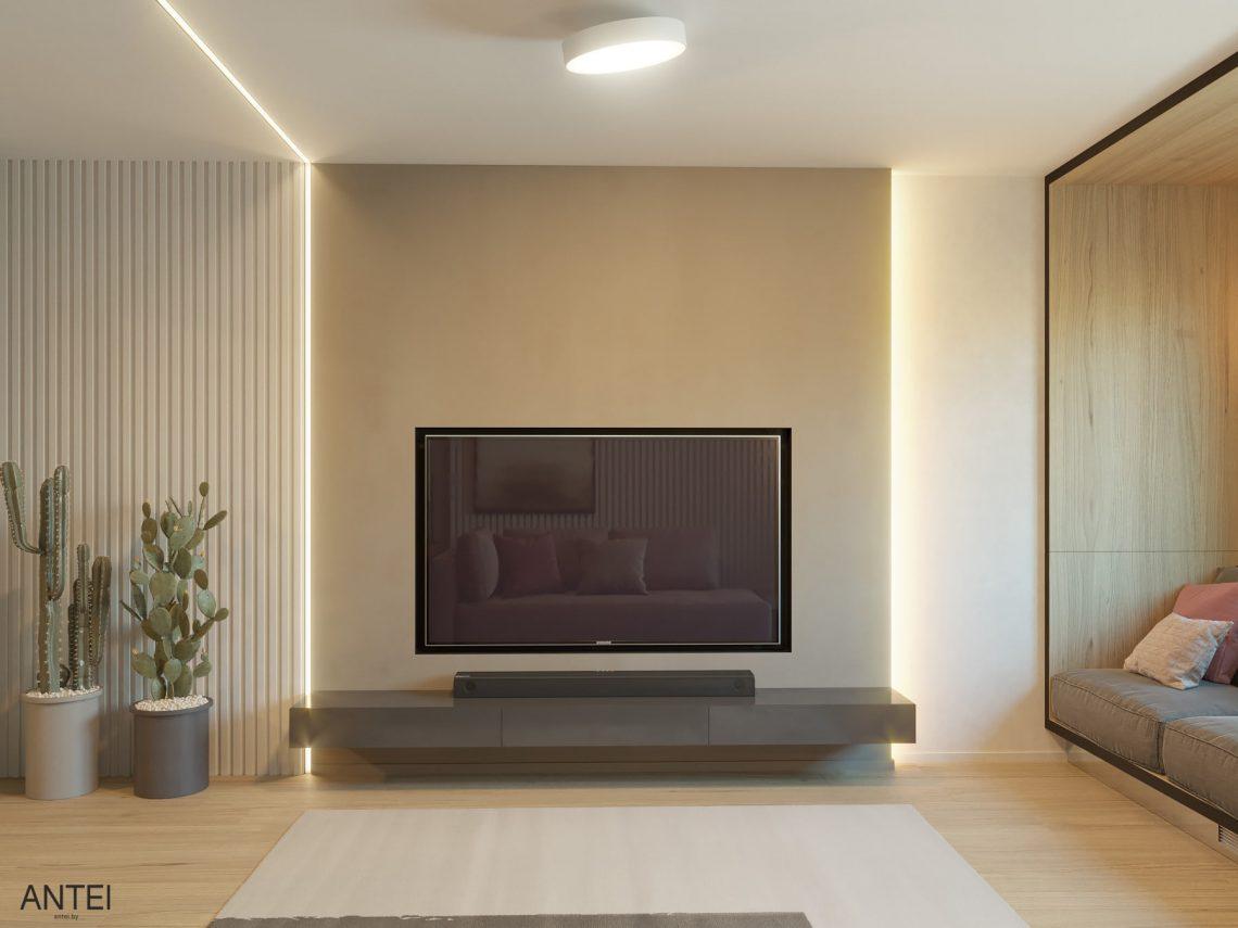 Дизайн интерьера трехкомнатная квартира в Минске, пр. Дзержинского - гостиная фото №3