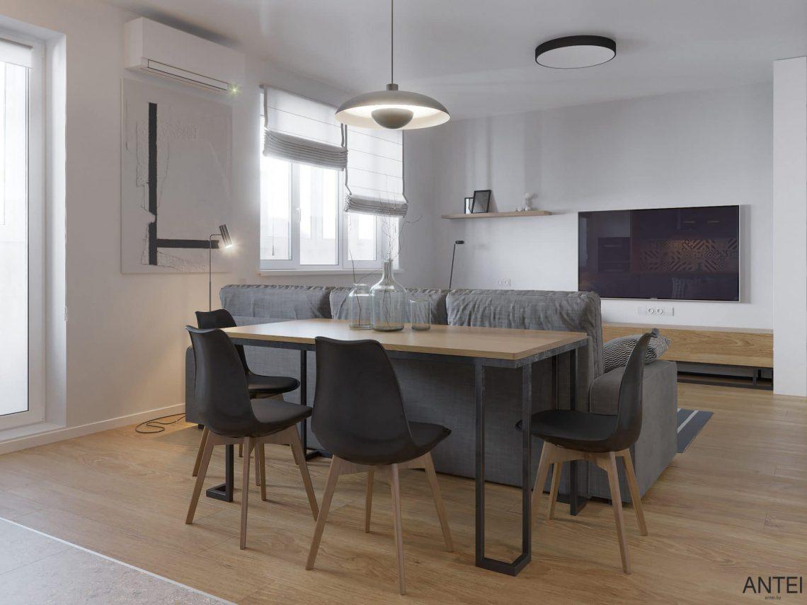 Дизайн интерьера однокомнатной квартиры студии в Минске - гостиная-кухня фото №3