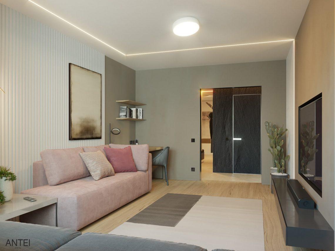 Дизайн интерьера трехкомнатная квартира в Минске, пр. Дзержинского - гостиная фото №4