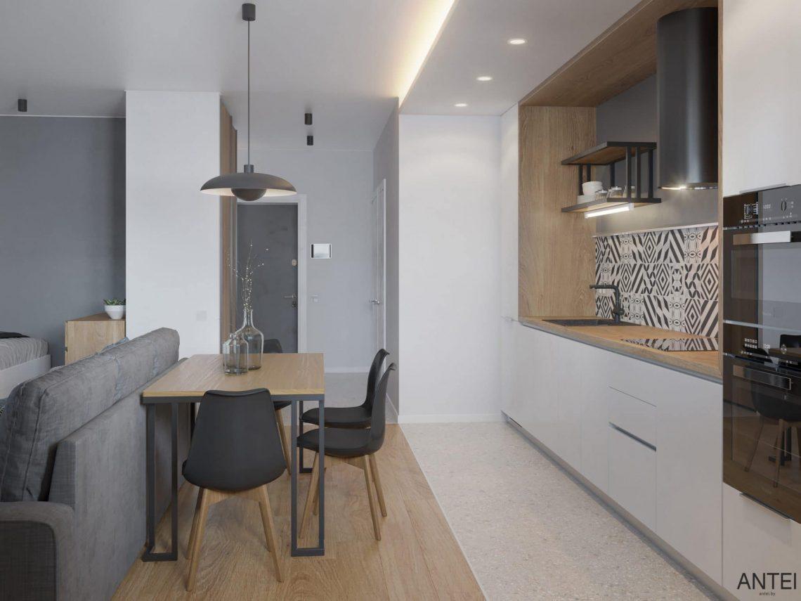 Дизайн интерьера однокомнатной квартиры студии в Минске - гостиная-кухня фото №4
