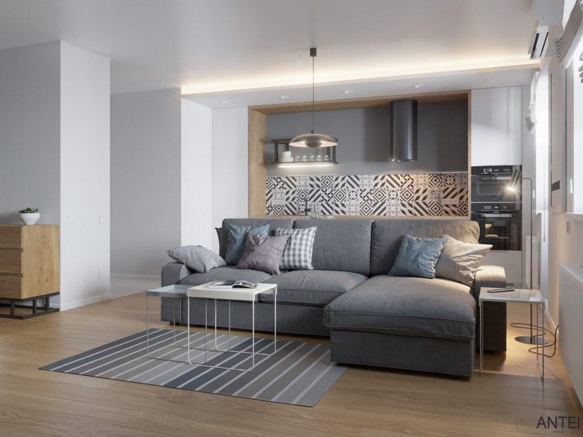 Дизайн интерьера однокомнатной квартиры студии в Минске - гостиная-кухня фото №5