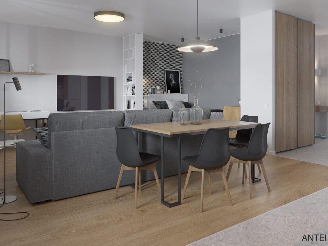 Дизайн интерьера однокомнатной квартиры студии в Минске - гостиная-кухня фото №6