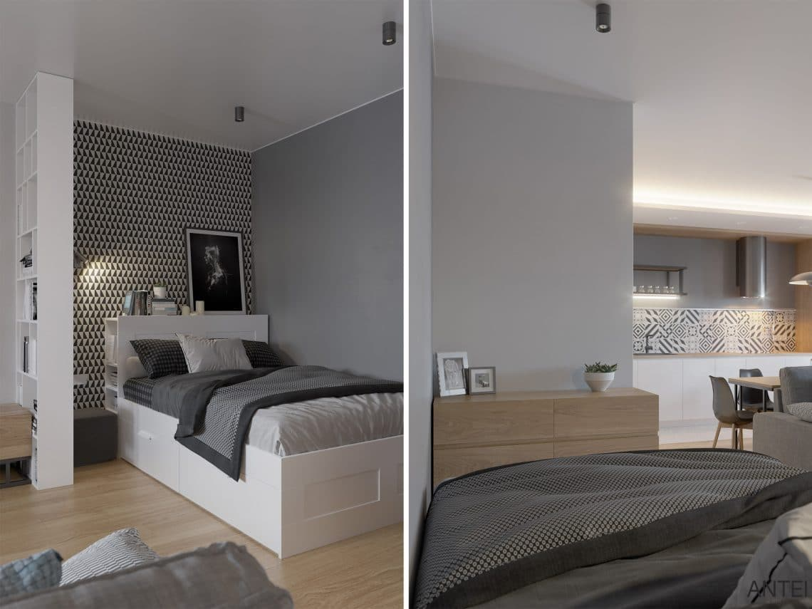 Дизайн интерьера однокомнатной квартиры студии в Минске - гостиная-кухня фото №7