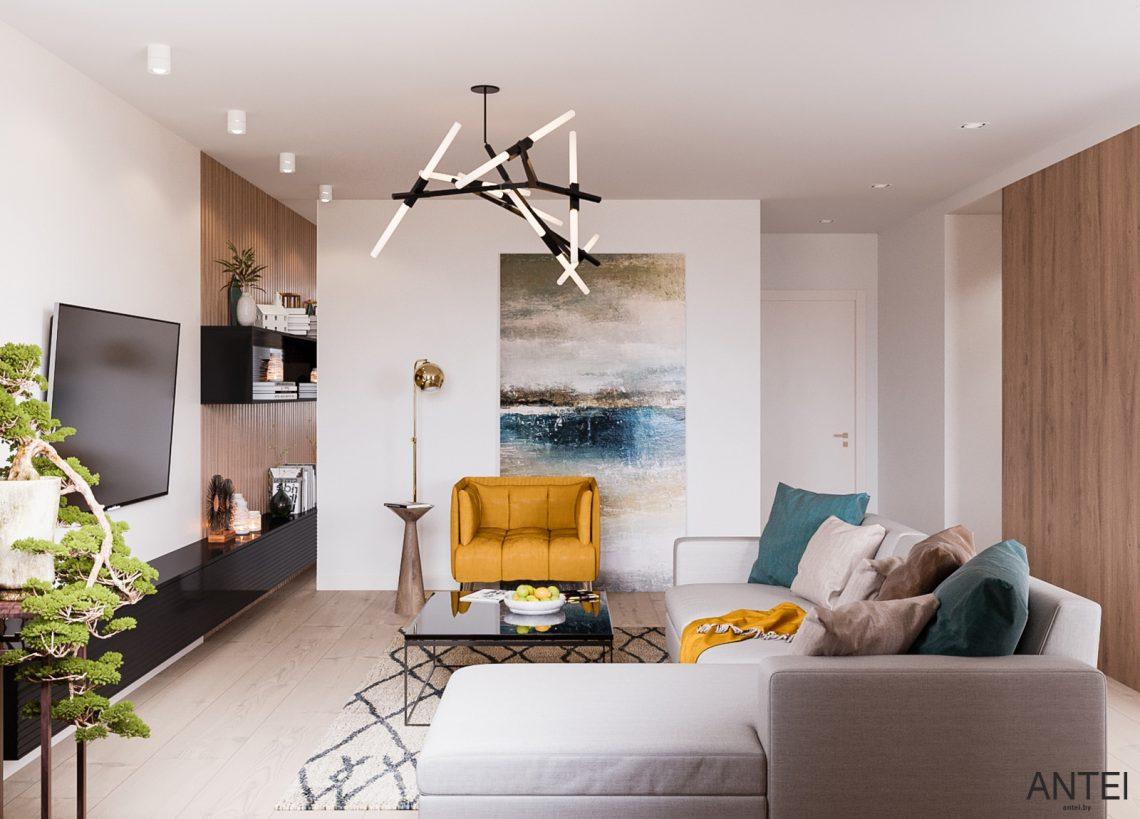 Дизайн интерьера трехкомнатная квартира в Гомеле, ул. Парижской Коммуны - гостиная фото №2