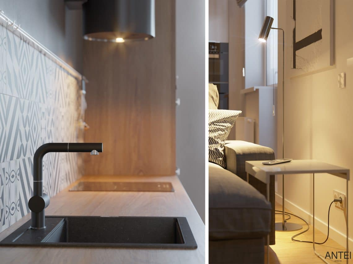 Дизайн интерьера однокомнатной квартиры студии в Минске - гостиная-кухня фото №8