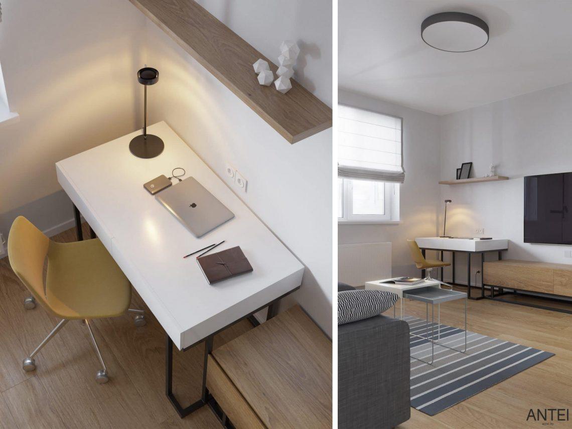 Дизайн интерьера однокомнатной квартиры студии в Минске - гостиная-кухня фото №9