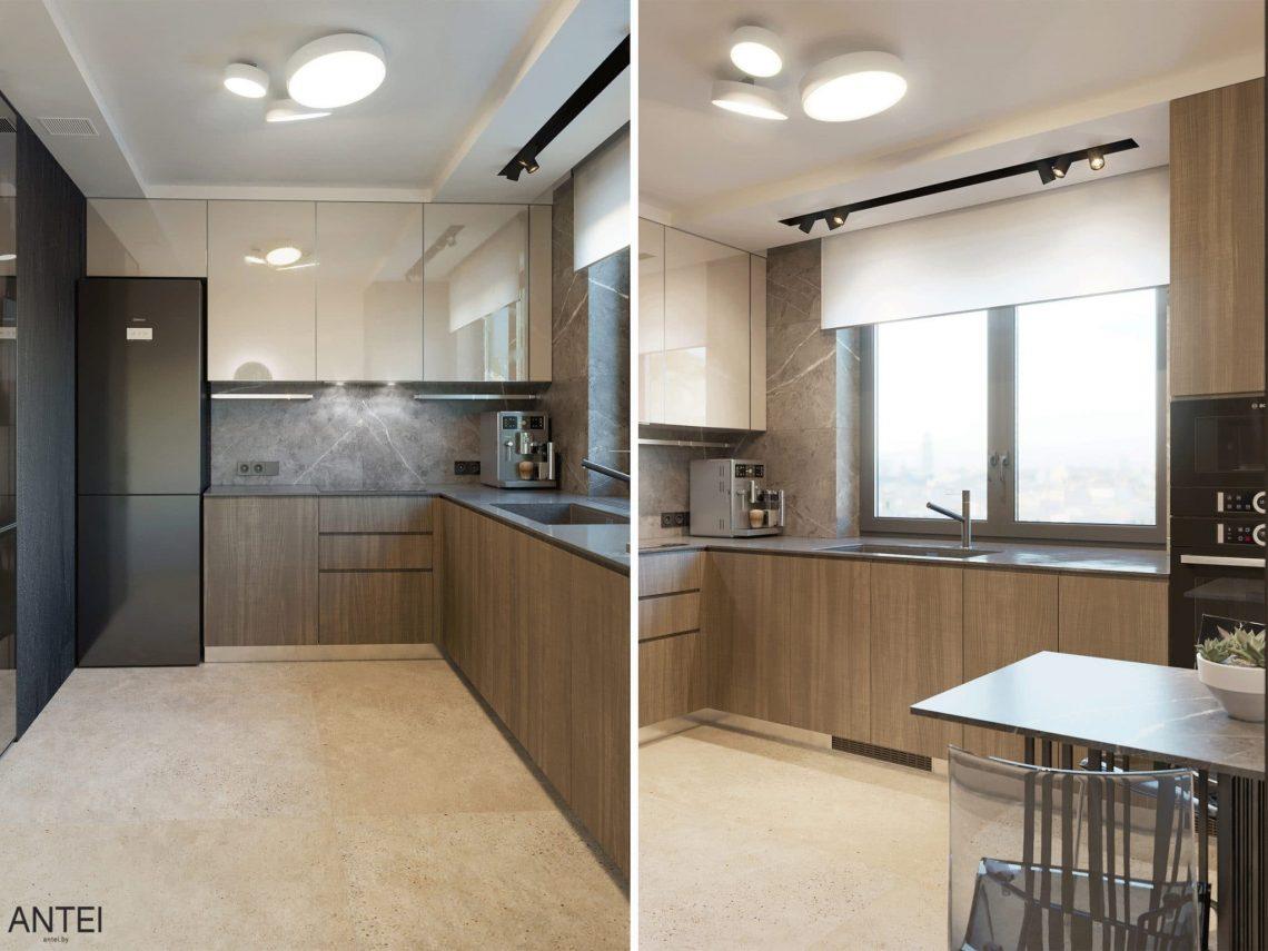 Дизайн интерьера трехкомнатная квартира в Минске, пр. Дзержинского - кухня фото №1