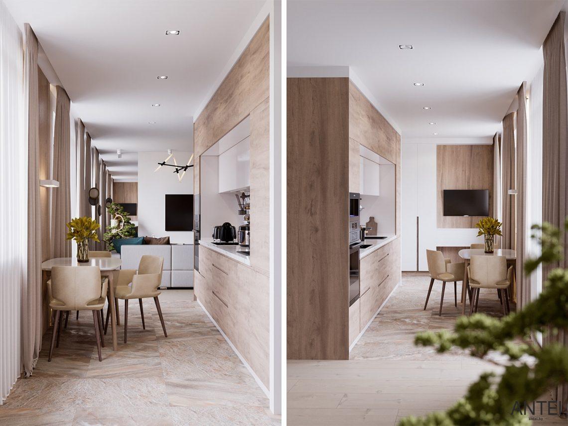 Дизайн интерьера трехкомнатная квартира в Гомеле, ул. Парижской Коммуны - кухня фото №2