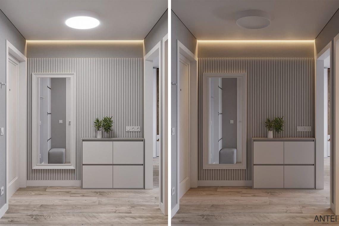 Дизайн интерьера однокомнатной квартиры в Гомеле, ул. Песина - прихожая фото №1
