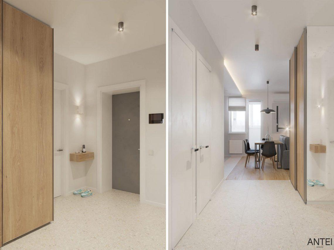 Дизайн интерьера однокомнатной квартиры студии в Минске - прихожая фото №1