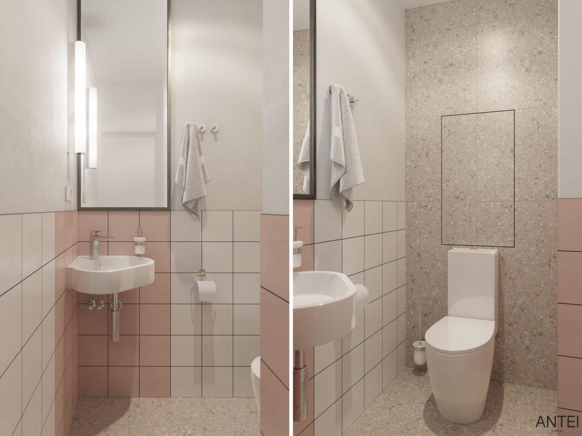 Дизайн интерьера однокомнатной квартиры студии в Минске - санузел фото №1