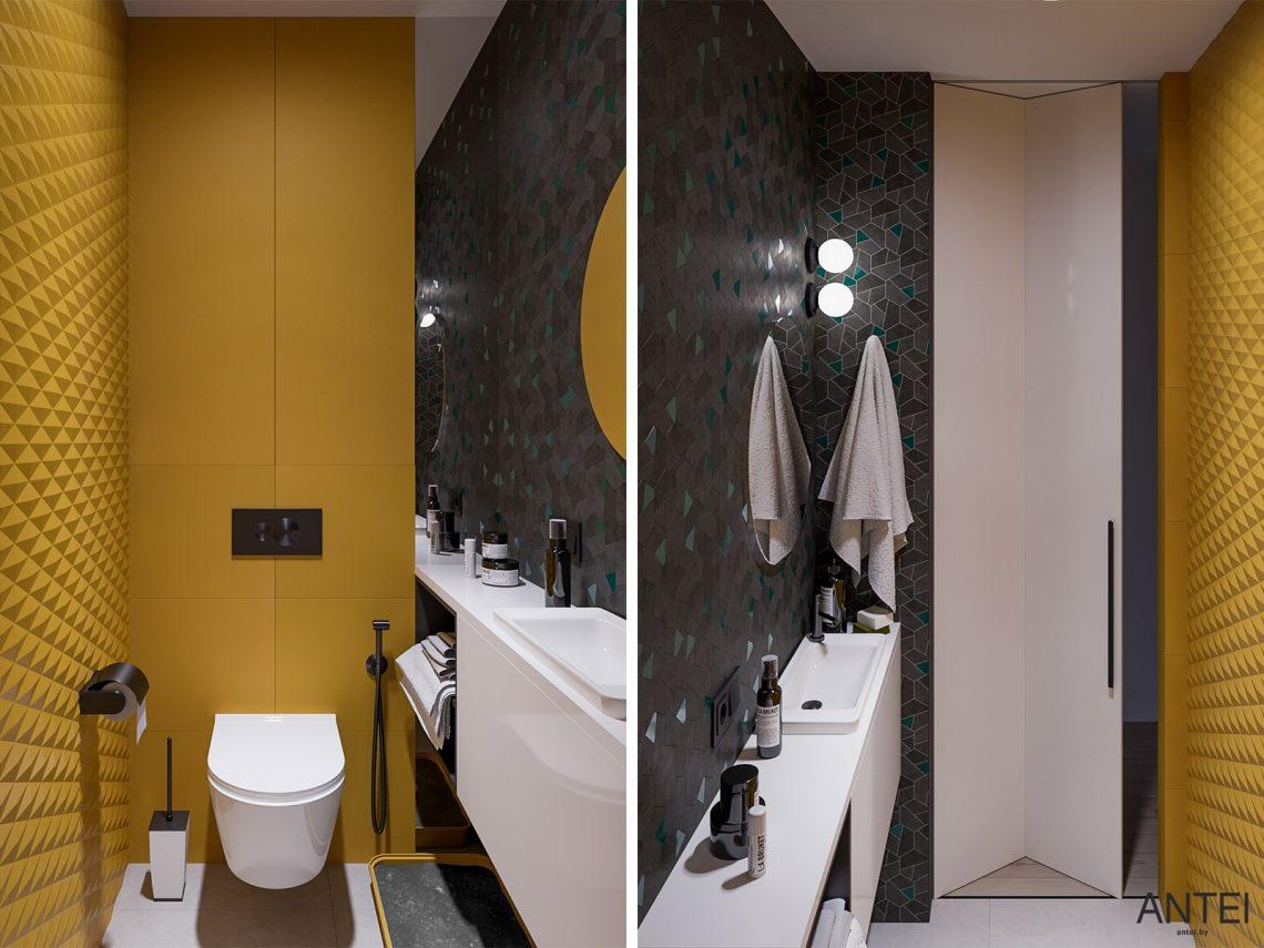 Дизайн интерьера трехкомнатная квартира в Гомеле, ул. Парижской Коммуны - санузел фото №1