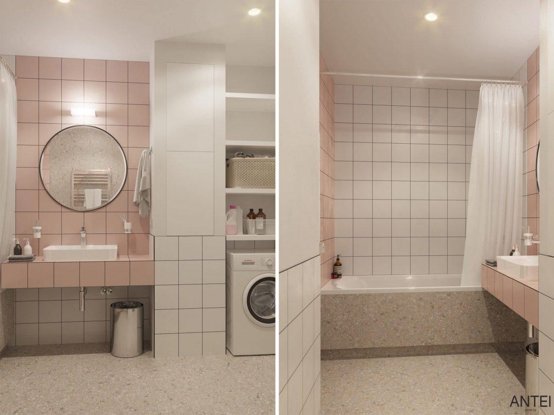 Дизайн интерьера однокомнатной квартиры студии в Минске - ванная фото №1