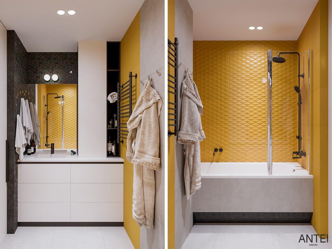 Дизайн интерьера трехкомнатная квартира в Гомеле, ул. Парижской Коммуны - ванная фото №1