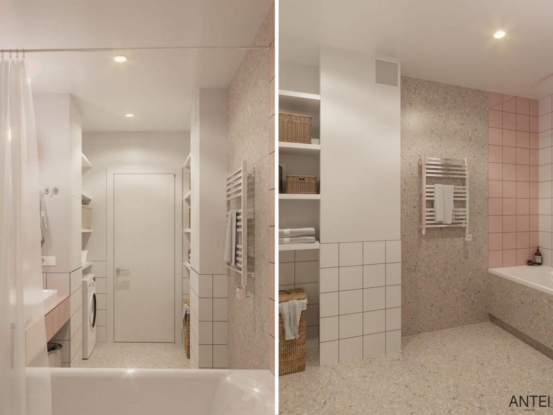 Дизайн интерьера однокомнатной квартиры студии в Минске - ванная фото №2