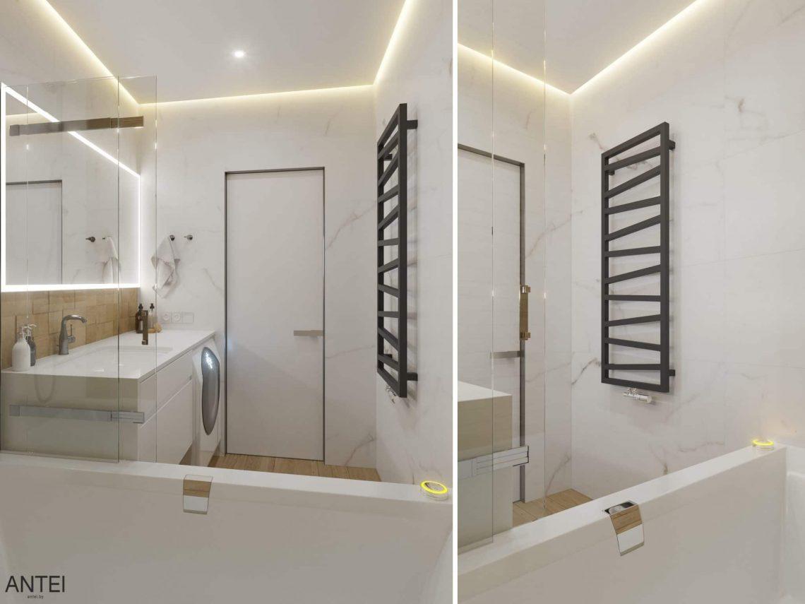 Дизайн интерьера трехкомнатная квартира в Минске, пр. Дзержинского - ванная фото №2