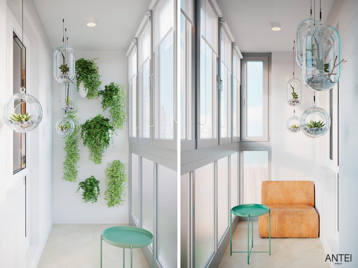Дизайн интерьера однокомнатной квартиры в Гомеле, ул. Богданова - балкон фото №1