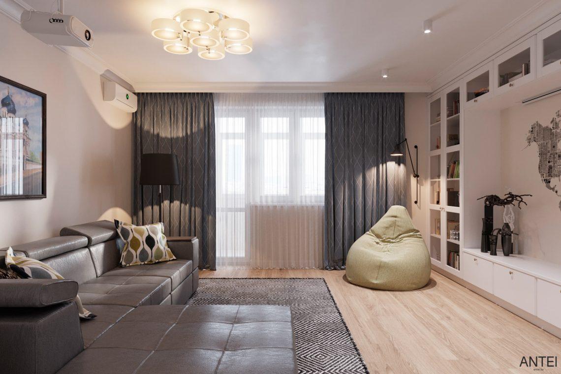 Дизайн интерьера трехкомнатной квартиры в Гомеле, ул. Волотовская - гостиная фото №1