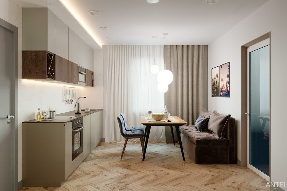 Дизайн интерьера двухкомнатной квартиры в Гомеле, ул. Сожская - кухня фото №2