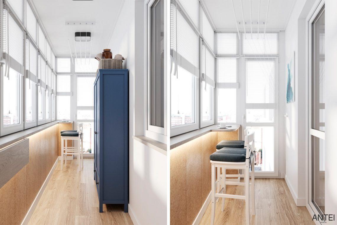 Дизайн интерьера трехкомнатной квартиры в Гомеле, ул. Волотовская - лоджия фото №2