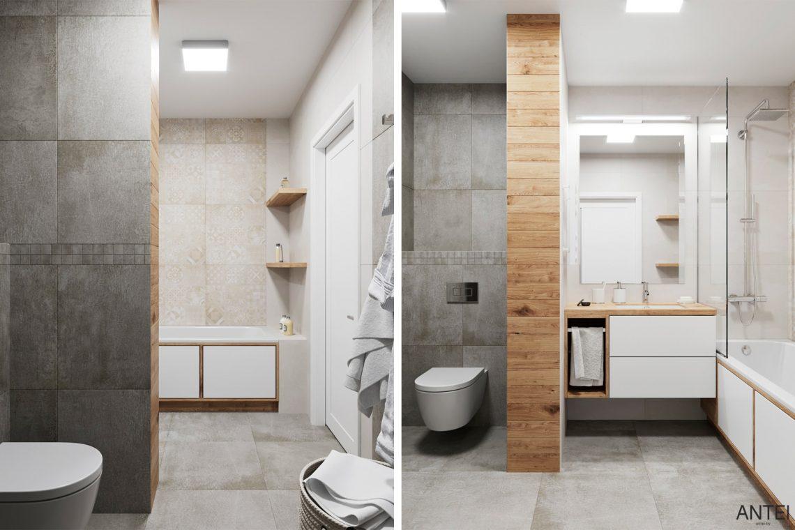 Дизайн интерьера трехкомнатной квартиры в Гомеле, ул. Волотовская - ванная фото №1