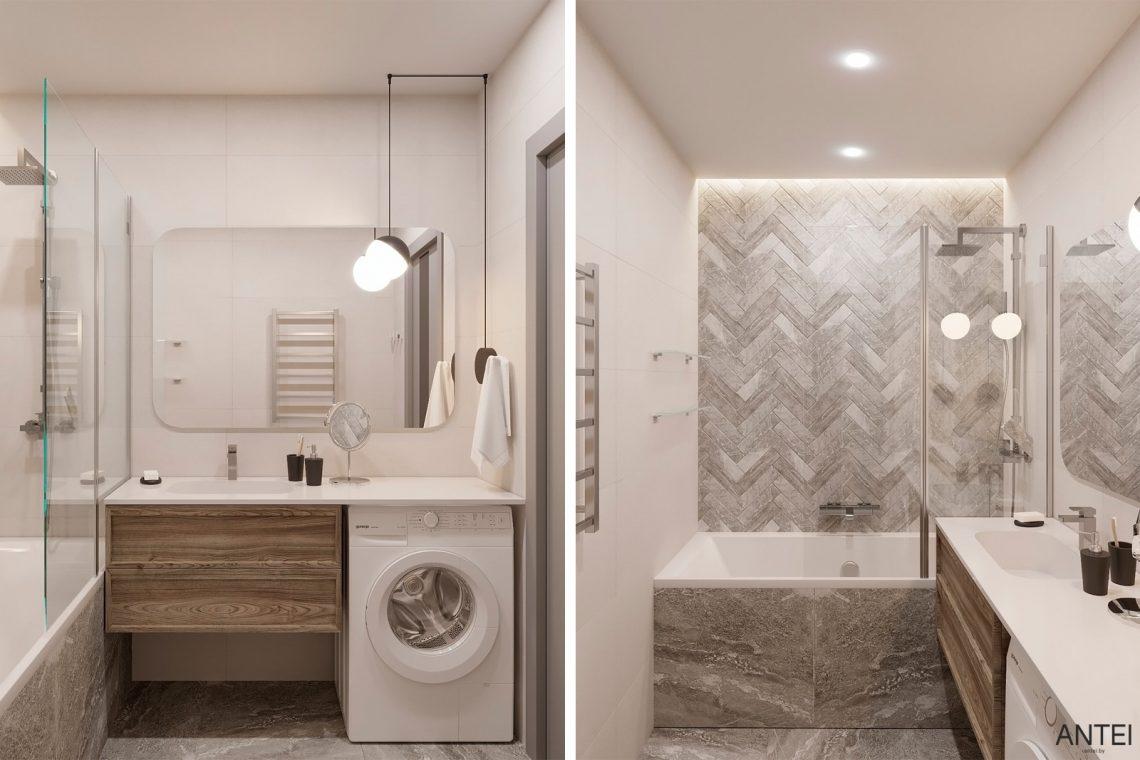 Дизайн интерьера двухкомнатной квартиры в Гомеле, ул. Сожская - ванная фото №1