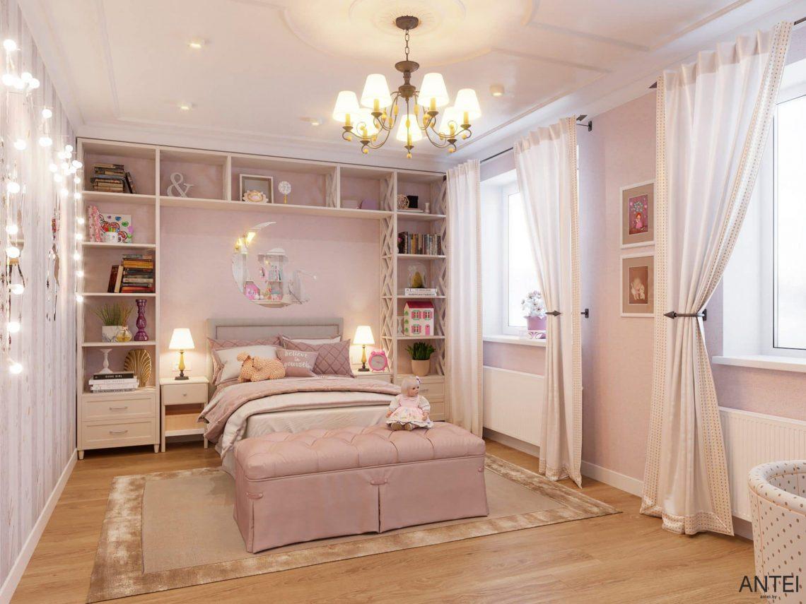 Дизайн интерьера двухэтажного дома в Гомеле, по ул. Брянская - детская комната для девочки фото №1
