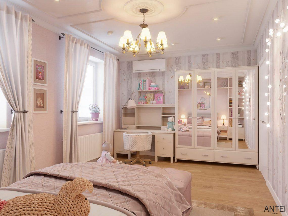 Дизайн интерьера двухэтажного дома в Гомеле, по ул. Брянская - детская комната для девочки фото №2