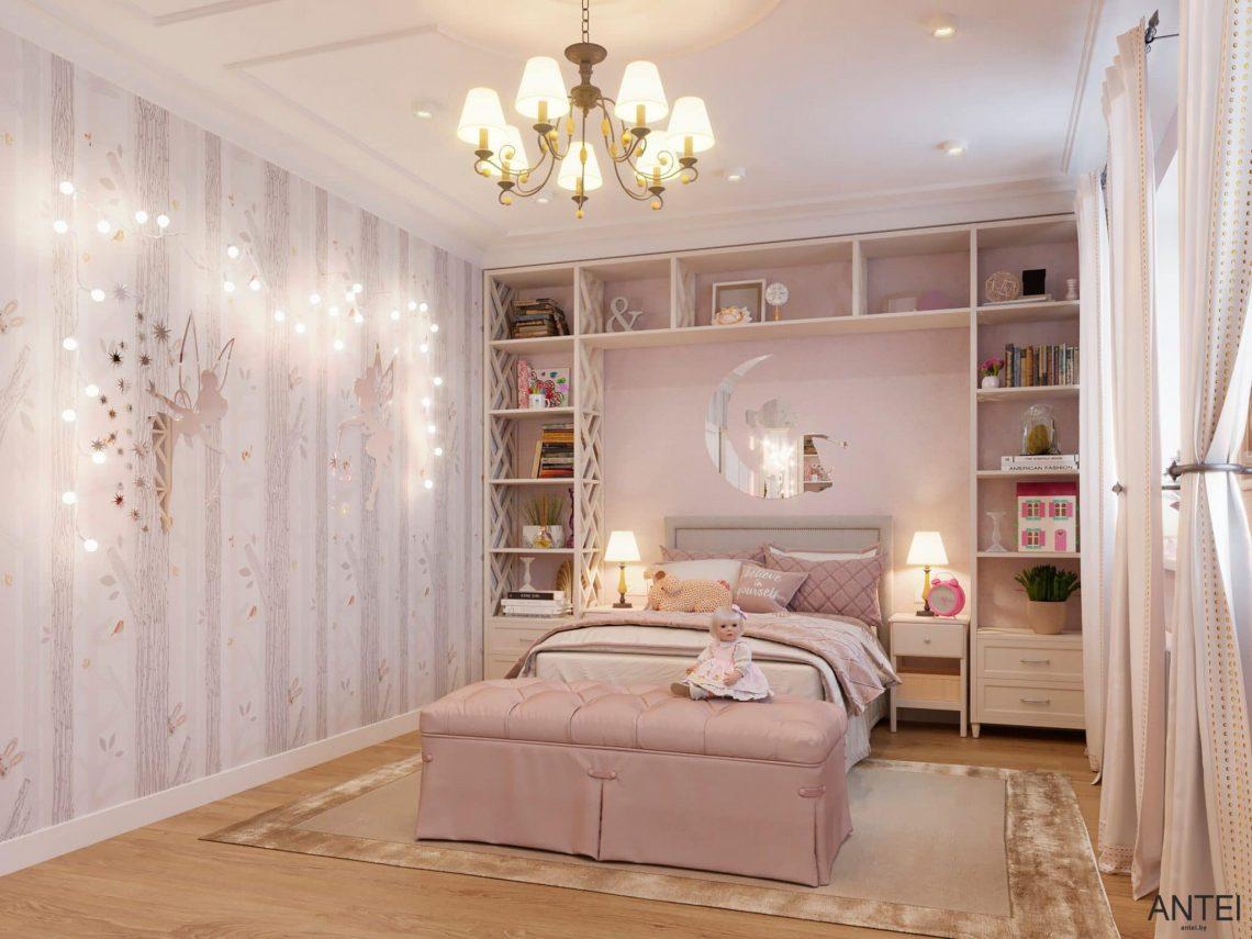 Дизайн интерьера двухэтажного дома в Гомеле, по ул. Брянская - детская комната для девочки фото №3