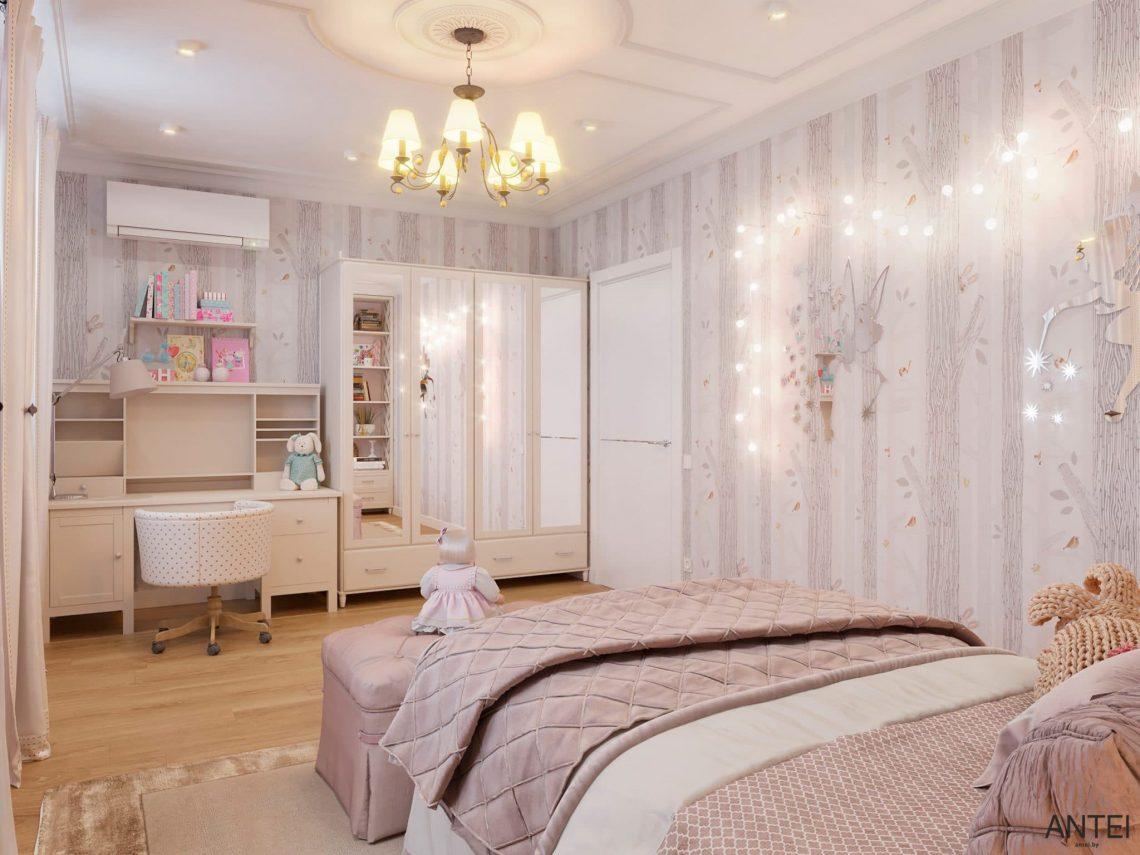 Дизайн интерьера двухэтажного дома в Гомеле, по ул. Брянская - детская комната для девочки фото №4