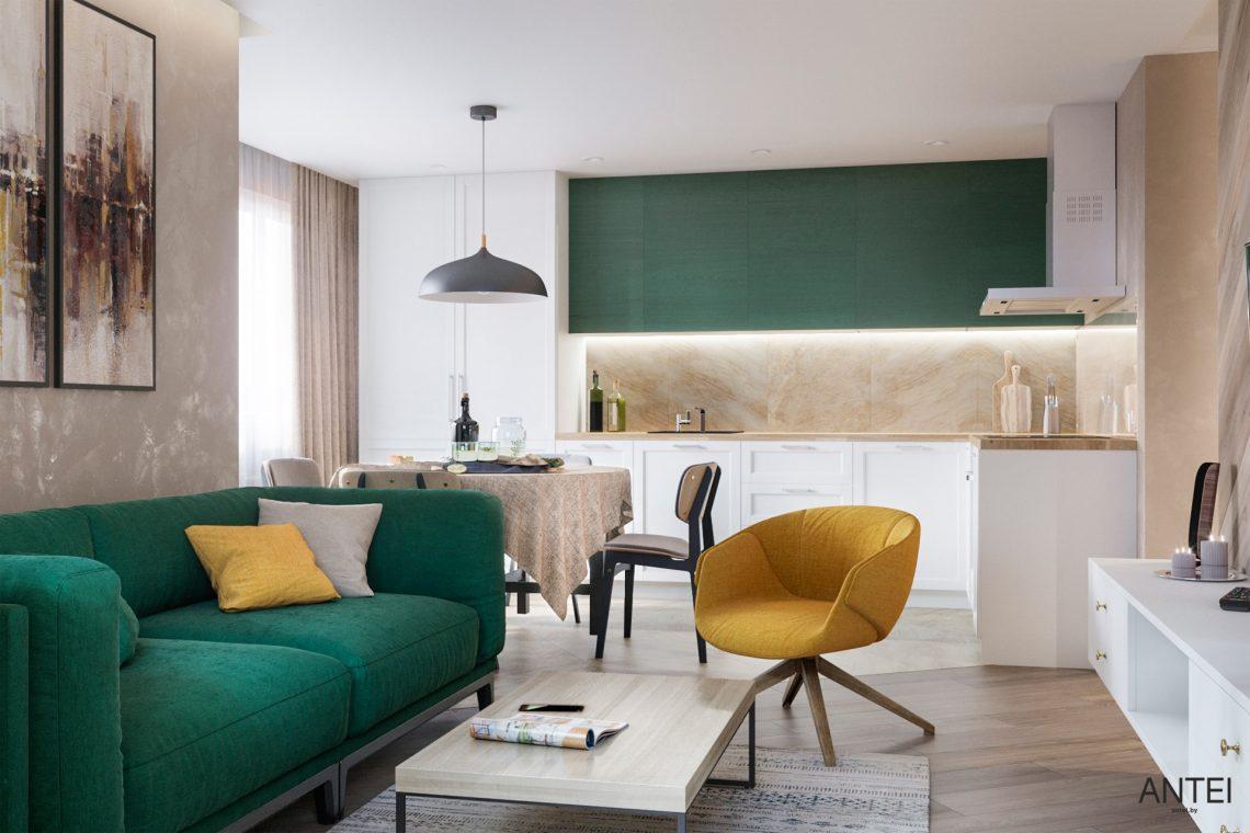 Дизайн интерьера трехкомнатной квартиры в Гомеле, ул. Бородина - гостиная фото №1