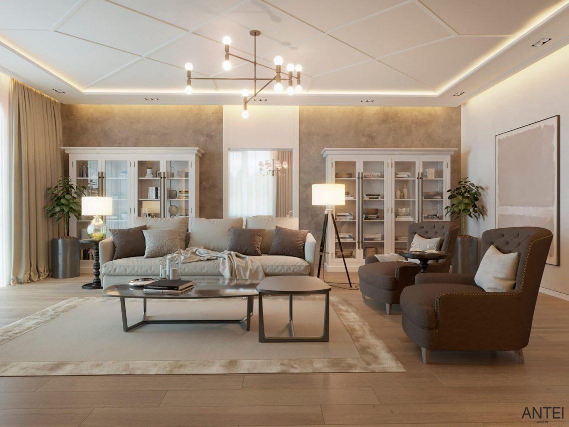 Дизайн интерьера двухэтажного дома в Гомеле, по ул. Брянская - гостиная фото №1